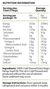 Hemp Oil Nutritional Information